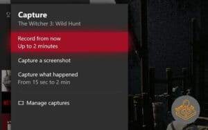 xbox one game capture menu
