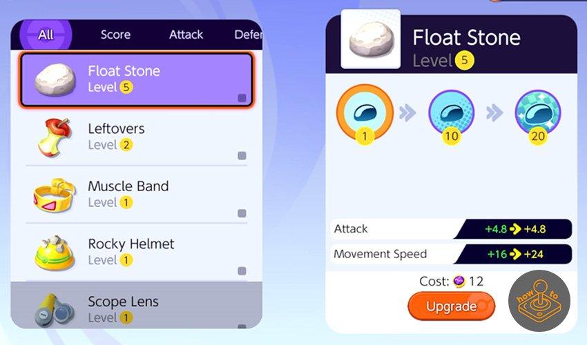 how to upgrade items in pokemon unite